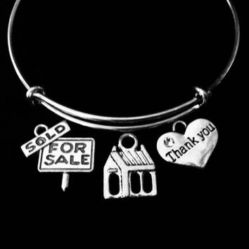 Thank you Realtor Bracelet Sold Sign Expandable Adjustable Charm Bracelet Appreciation One Size Fits All Gift