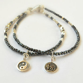 Minimalist Ohm or Yin Yang Beaded Bracelet with Karen Hill Tribe Silver