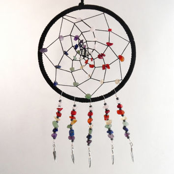 Rainbow dream catcher with gemstones and silver feather charm, Chakra dream catcher