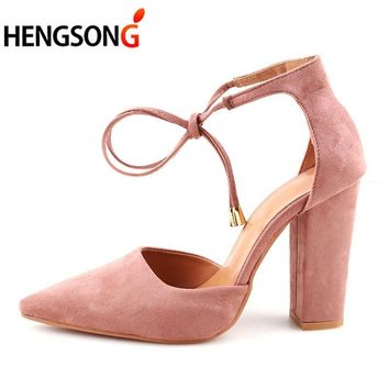 Retro High Heels Women's Sandals Summer Shoes Ladies Strappy Pumps Thin Air Heels Woman Lace Up Shoes 911519