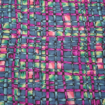 """1970s Vintage Poly Rayon Blend Dress Making Fabric, Camelot """"N"""" Omega Textile Corp, Stained Glass Print, BY the YARD, 44 In. Home Sew Fabric"""
