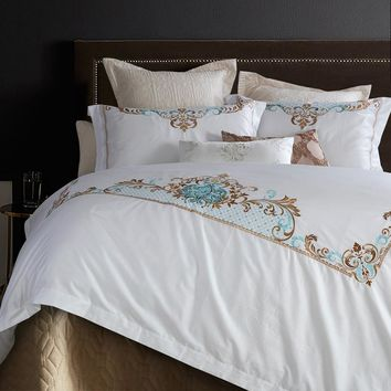 White Embroidered Linens,  100% Cotton Duvet Cover Bedding Set