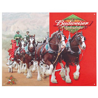 Budweiser Clydesdales Metal Sign Retro Vintage Tin Sign Bar Man Cave Decor Gift Idea Father's Day 12.5 x 16 inches