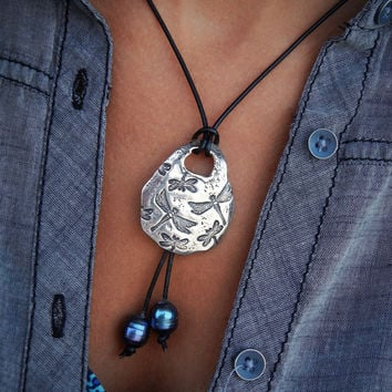 Dragonflies Sterling Silver Leather & Pearl Necklace