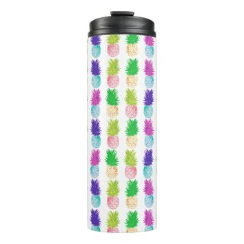 Colorful pop art painting pineapple pattern thermal tumbler