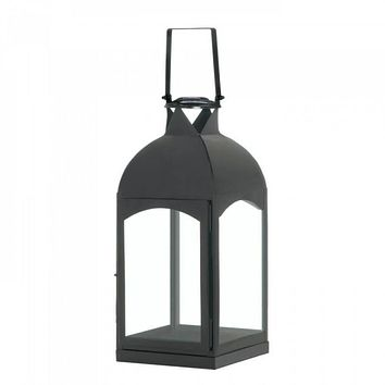 Set of 2 Large Domed Black Candle Lanterns