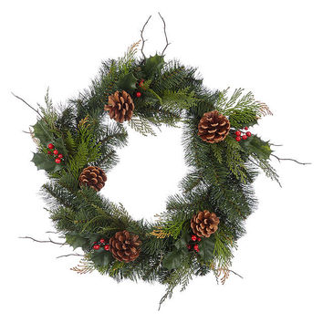John Lewis Holly Cone Wreath, Dia.50cm, Green/Red at John Lewis