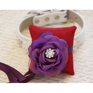 Red and Purple Ring Pillow for dogs, Chic Ring Pillow Collar, Ring Bearer, Proposal