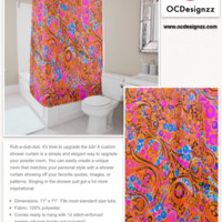 Florescent Pink Orange Abstract Shower Curtain