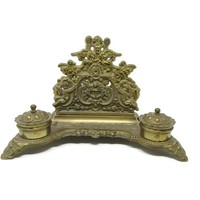 Antique Inkwell Solid Brass Art Nouveau Rococo Italy, Vintage Inkwell Desk Organizer, Fancy Brass Scroll Cherubs Double Inkwell Office Decor