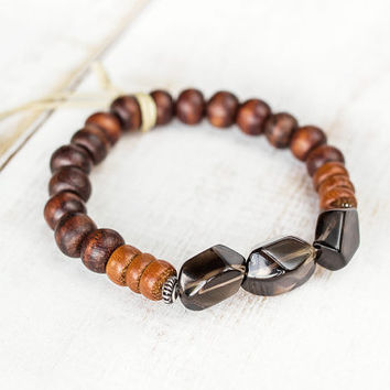 Smokey quartz bracelet, 925 Silver, Smoky quartz beads, Reiki jewelry protection bracelet, Healing crystals and stones, Root chakra