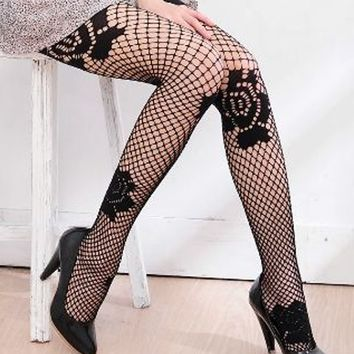 Ilitia Sexy Rose Motif Crochet Fishnet Pantyhose Tights Hosiery,one Size