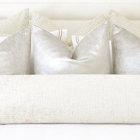 Sueded Metallic Velvet // Silver Pillow COVER ONLY