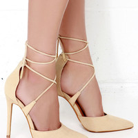 Leading Role Nude Suede Lace-Up Heels