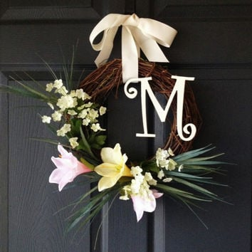 Monogram Wreath - Easter Wreaths - Spring Wreath - Spring Door Decor - Easter Lilies - Door Wreaths - Front Door Wreath