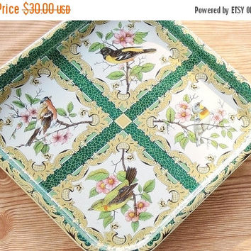 On Sale Vintage Daher Green Litho Serving Tray, Tea Party, Ca. 1971, Robin Red Breast, Home and Living