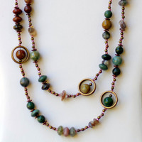 Extra Long Wrap Necklace/ Semiprecious Natural Stone Agate Necklace/ Forest Green Brown Necklace/ Two Strand Necklace/ Earth Tone/ OOAK