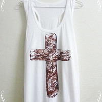 JESUS CHRIST Shirt Cross  tank top Women Teen Good Shirt  size S M L X God The Father shirt White singlet Awesom