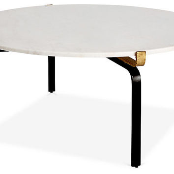 Juliette Round Coffee Table, White/Gold - One Kings Lane - Brands | One Kings Lane