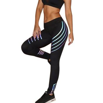 Luminous Stripes Workout Leggings For Women