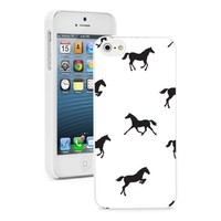 Apple iPhone 5 5S White 5W479 Hard Back Case Cover Color Horses Pattern