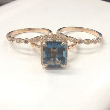 8x10mm London Blue Topaz Bridal ring set!Engagement Ring 14K Rose Gold!Diamond Wedding Ring,Emerald Cut VS Natural Gemstone,Matching Band