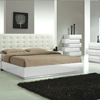 4 pc Spain White lacquer finish wood modern style Queen bed set with silver accents and button tufting