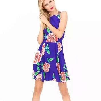 Women's Fashion Floral Print Shaped Vest One Piece Dress [5013275076]