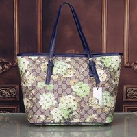 Gucci Women Leather Flower Print Shopping Tote Handbag Shoulder Bag H