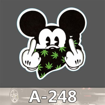 A-248 tide brand spoof of Mickey Mouse PVC leaflet waterproof stickers toon dead fly scooter suitcase stickers