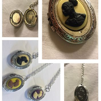 Ivory And Sliver Vintage Locket Cameo/Free Shipping