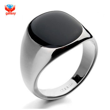12 GALAXY 2015 Hot Sale Fashion Black Wedding Rings For Men Brand Luxury Black Onyx Stones Crystal Ring Fashion 18K Jewelry YH034