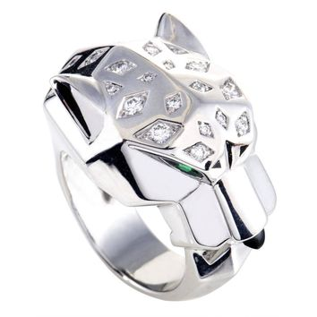 Cartier Panthere Diamond Emerald Onyx White Gold Ring