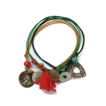 Cord Friendship Bracelets with Charms Set of 3, Green, Beige and Black - Bohemian Style String Bracelets