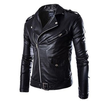 JACKET MOTO Men's Black PU Zipper Faux Leather Coat Punk Long Sleeve Motorcycle biker