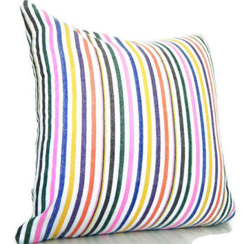 Rainbow Stripe Pillow Colorful Decorative Throw by CityGirlsDecor