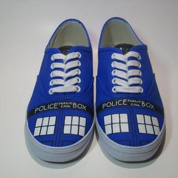 Tardis Shoes, Hand Painted Doctor Who Vans Shoes, Hand Painted Doctor Who Canvas Sneak