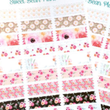 8 Vintage Watercolor Flower Boxes Planner Stickers