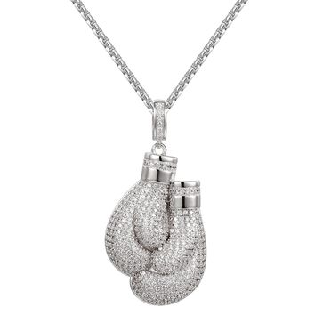14k White Gold Finish Boxing Gloves Iced out Pendant Necklace