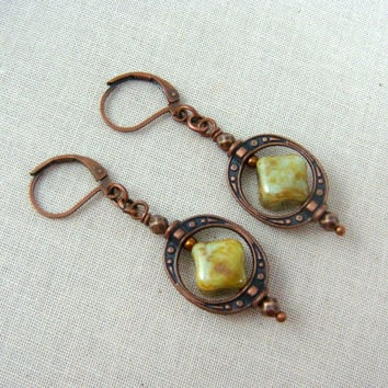 Steampunk Earrings - Sage Green Earrings - Steam Punk Style Bead Frame with Sage Green Diamond Picasso Bead - Sage Green and Copper Earrings
