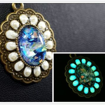 Synthetic Blue Opal Necklace - Glow In The Dark Necklace - Galaxy  Starry Sky Van Gogh Starry Night Necklace , Glowing Pendant