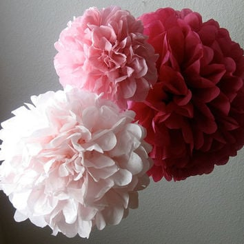 10 Tissue Paper Pom Pom Pew Decorations - Chair Decoration Kissing Ball -Flower Girl Bouquet - Wedding Centerpieces- SALE