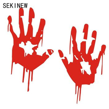 Zombie Bloody Hands Print Fun Vinyl Car Sticker Motorcycle Window Decal Accessories Red