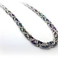 Rainbow Byzantine Chainmaille Bracelet in Sterling Silver and Anodized Niobium