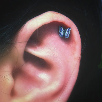 Pretty Purple or Blue Butterfly Stylish Surgical Steel Stud Earring. Perfect for Helix and Cartilage Piercings.