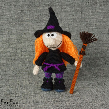 Witch, OOAK handmade crochet doll, Halloween, fantasy doll - Hella the Little Witch