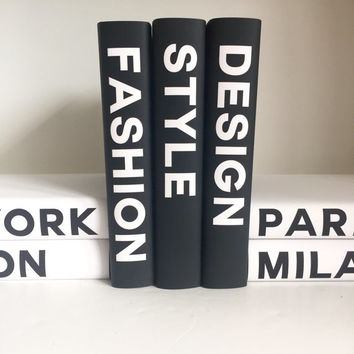 Style Fashion Design Books, Fashion Design Books, Book Decor, Decorative Books. Fashion Book Set, Black White Books, Fashion Books, Gift