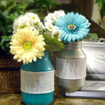 Painted Color Mason Jars/ Floral Arrangements/ Aqua and Metallic Silver jars with flowers/ Set of 2/ Wedding Decorations/ Mother's Day Gift