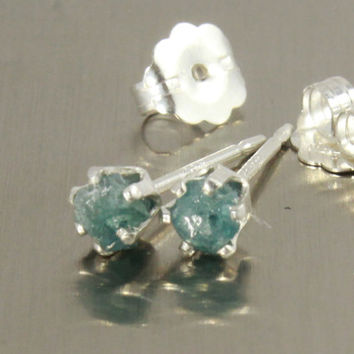 Blue Rough Diamond Earrings on Sterling Silver Studs - Tiny Post Earrings - Rare Blue Uncut Raw Diamonds - April Birthstone