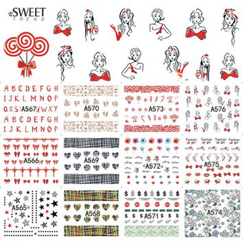 12 Designs in 1 Nail Art Bow Tie/Flower/Heart Water Transfer Nail Stickers Decals Manicure Decoration Nail Accessory LAA565-576